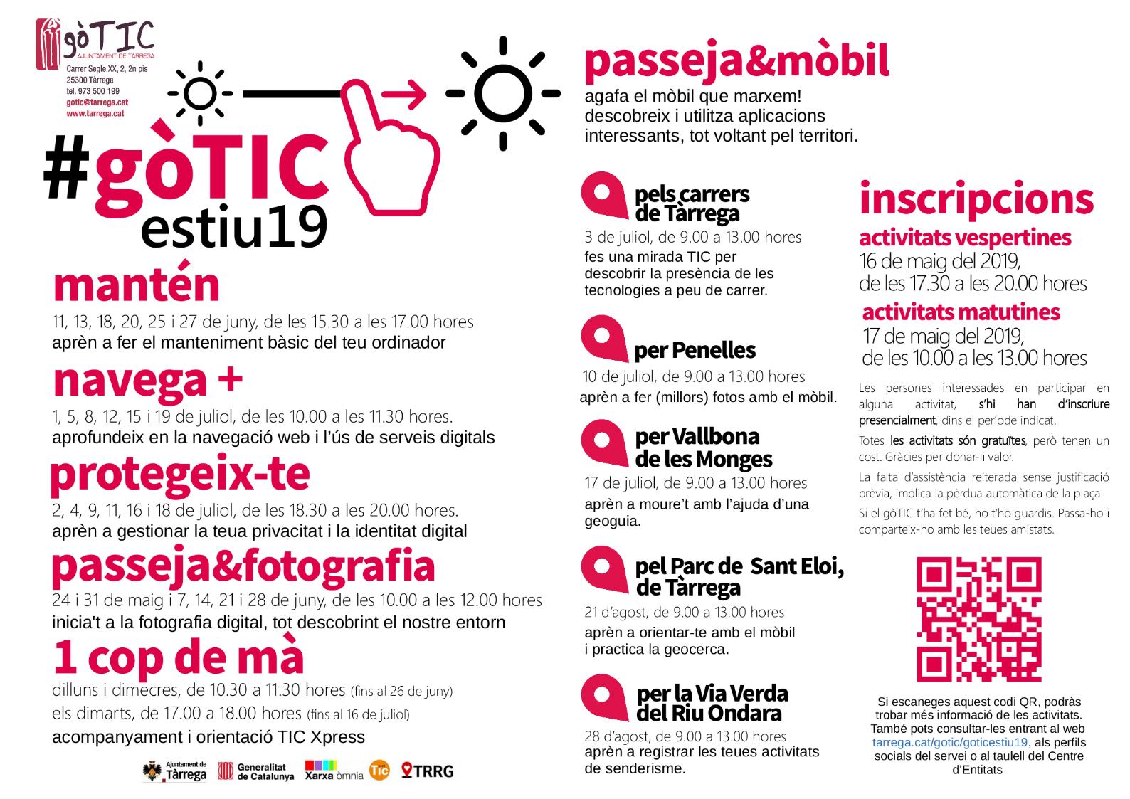 Programació activitats TIC del #gòTICestiu19